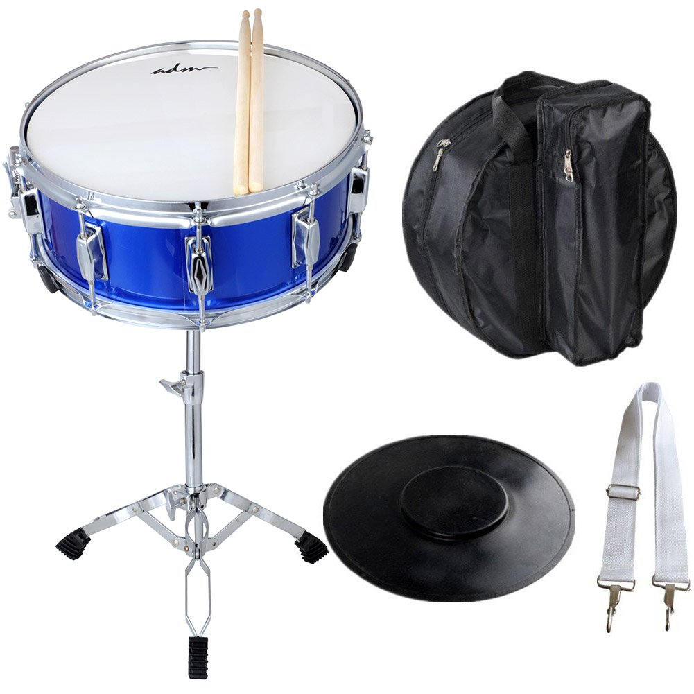 ADM Student Snare Drum Set 14'' X 5.5'' with Gig Bag, Sticks, Stand and Practice Pad Kit, Blue by ADM