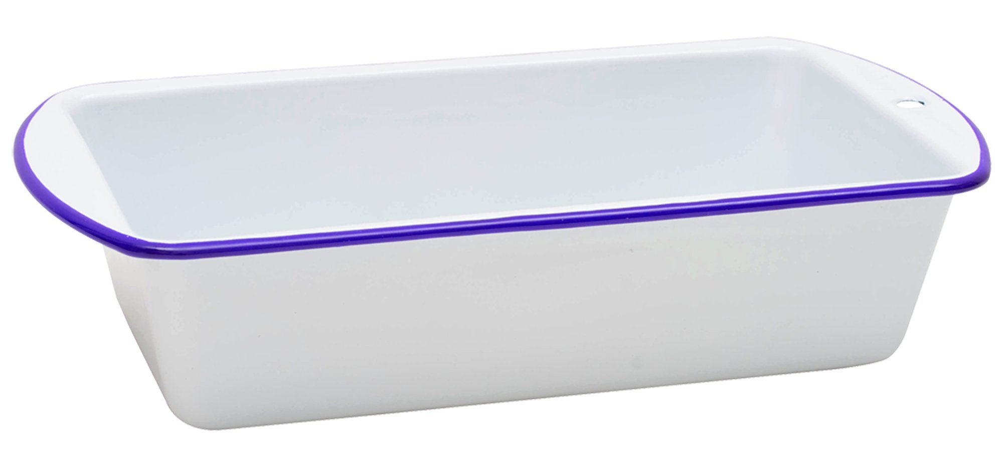 Enamelware Loaf Pan - Solid White with Blue Rim
