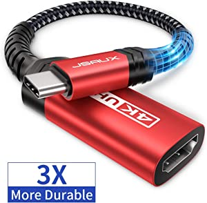 USB-C to HDMI Female Adapter 4K@60Hz, JSAUX USB Type-C to HDMI Adapter Cord [Thunderbolt 3 Compatible], for MacBook Pro 2018 2017, Samsung Galaxy S20 Ultra S20+ Note 10 S10 S9 S8 Plus, Dell XPS 15-Red