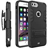 iPhone 7 Plus Case, Comsoon Heavy Duty Shockproof Armor Drop Protection Case Cover with Card Slot, Built-in Kickstand + Swivel Belt Clip Holster for Apple iPhone 7 Plus (black)
