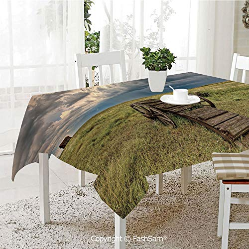 (FashSam 3D Print Table Cloths Cover Old Prairie Cart Agricultural Field Ranch Dramatic Stormy Sky Waterproof Stain Resistant Table Toppers(W60)