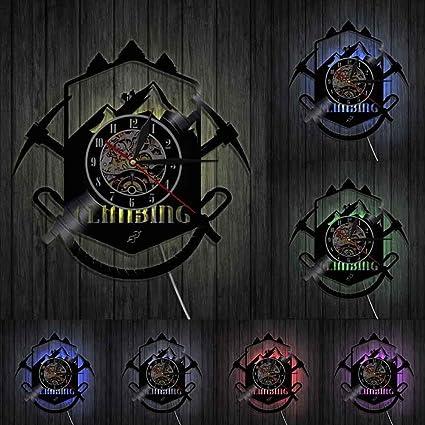 TPYFEI Reloj de Pared con Logo de Escalada de montaña ...