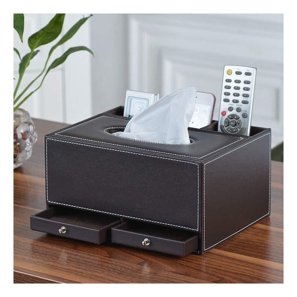 SHUCHANGLE Tissue Box Halter Kosmetiktücher-Box Multifunktions-Tissue-Box-Cover Pu-Leder Braun Fernbedienung Halter Desk Organizer