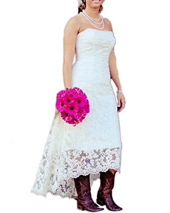 DreHouse Women\'s Lace High-Low Countryside Wedding Dresses Plus Size  Wedding Dress