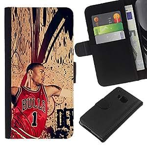 Chic Bull 1 Baloncesto - la tarjeta de Crédito Slots PU Funda de cuero Monedero caso cubierta de piel Para HTC One M9