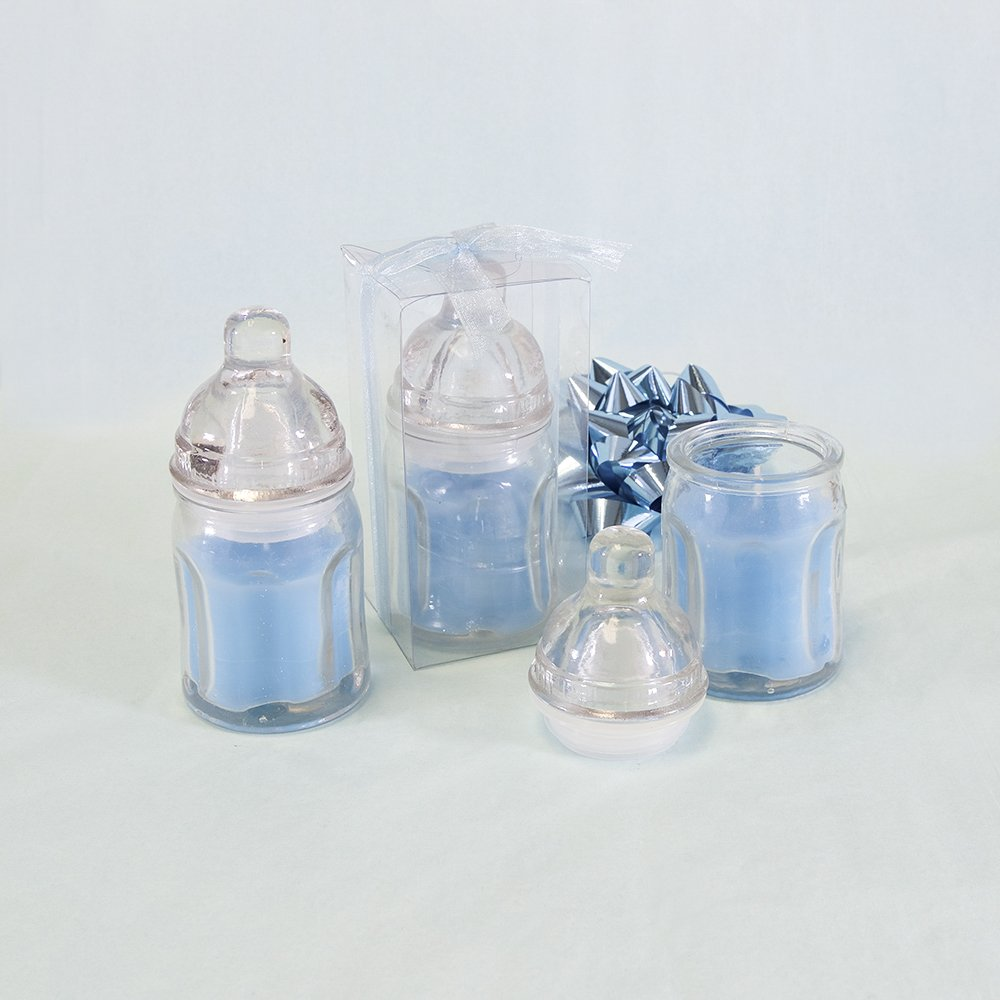 Lunaura Baby Keepsake - Set of 12 ''Boy'' Glass Baby Bottle Scented Candle - Blue