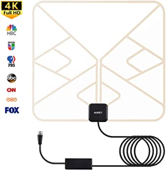 Aukey Indoor Digital TV Antenna with Amplifier Signal Booster