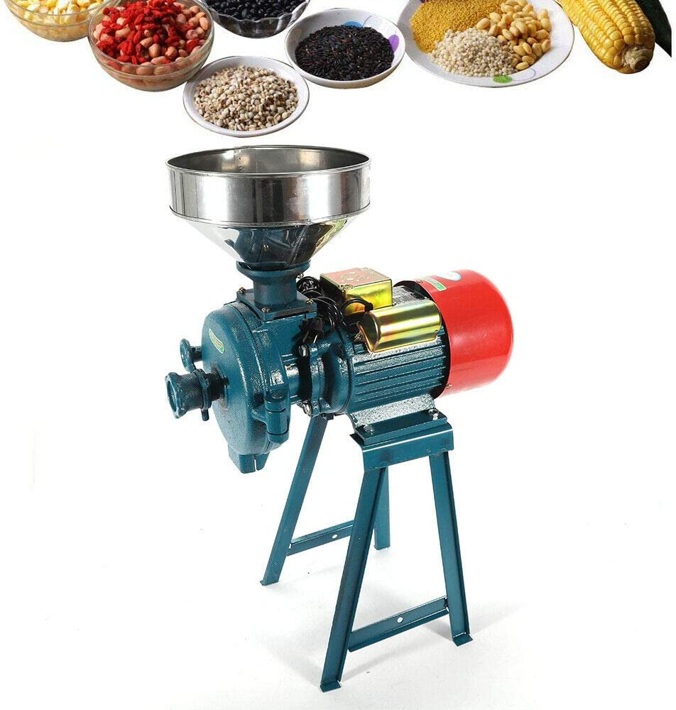 Mill Grinder, 220V Electric Dry Grain Crops Grinding Milling Machine w/Funnel for Feed Coffee Cereal Corn Rice Flour Food Industry