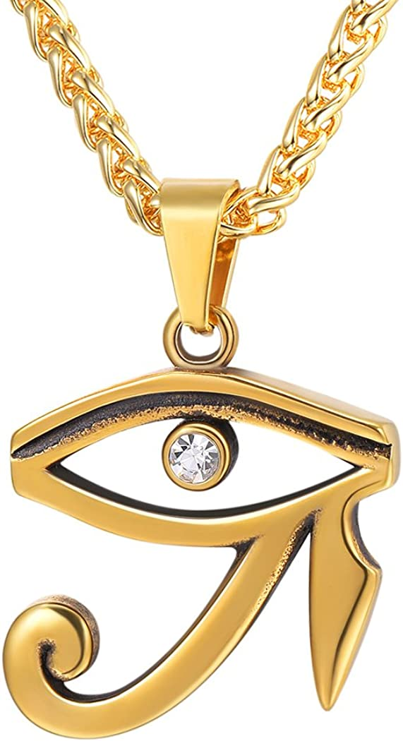 Vintage Egpytian Jewelry Stainless Steel / 18K Gold Plated African Necklace Eye of Horus/God Anubis/Pyramid/Pharaoh/Queen/Ankh Cross Pendant Fathers Gift