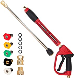 """Hourleey High Pressure Washer Gun, Red Power Washer Gun with Replacement Wand Extension, 5 Nozzle Tips, M22 14mm to M22 15mm Fittings, M22 14mm to 1/4"""" Quick Connerctor, 40 Inch, 5000 PSI"""