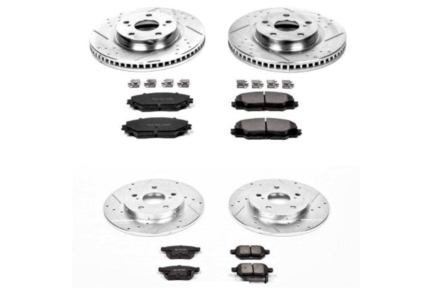 Power Stop K4142 Front and Rear Z23 Evolution Brake Kit with Drilled//Slotted Rotors and Ceramic Brake Pads