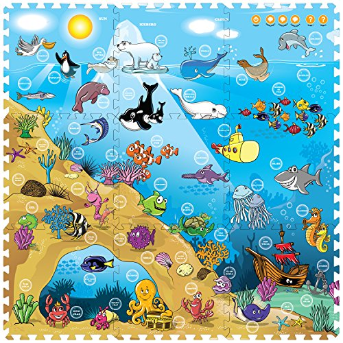 Creative Baby 9 Piece Interactive Playmat i-Mat, Under The Sea (Alphabet Photo Puzzles)