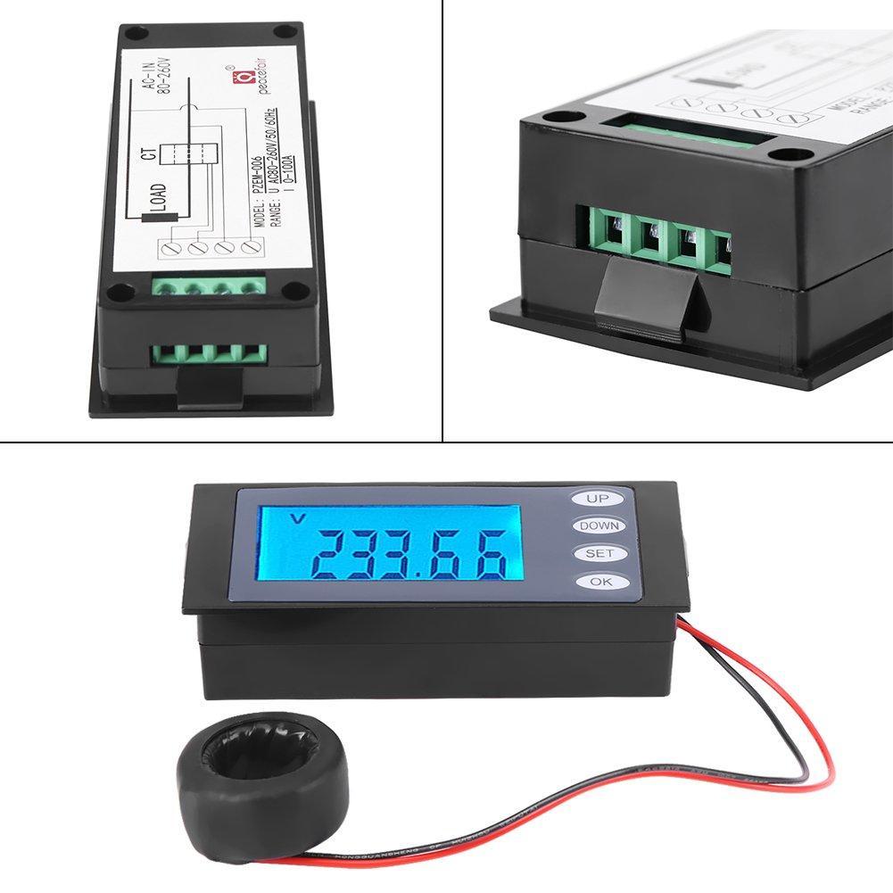 PEACEFAIR Voltager meter Digital AC 80-260V 100A Current Voltage Watt KWh Time Panel Meter Voltmeter + CT ,household voltmeter. by Hilitand (Image #4)