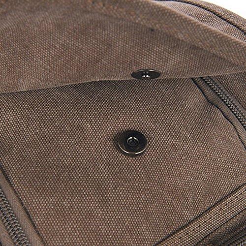 Hiigoo Multi Zipper Pocket Small Cross Body Shoulder Bag Backpack (Khaki) by Hiigoo (Image #6)