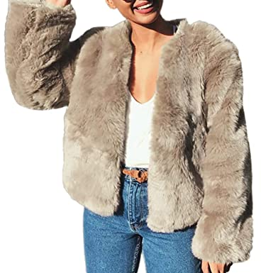 Womens Thick Faux Fur Coat Overcat Peacoat Winter Coats Chic Jacket Cardigan Outerwear Tops for Party Club Cocktail at Amazon Womens Coats Shop
