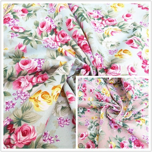 Fabric Floral Rose (ZAIONE 2 Colors by The Yard Width 58
