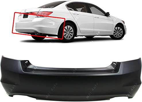 Primered HO1100245 MBI AUTO Rear Bumper Cover Replacement for 2008-2012 Honda Accord Sedan 4 Door 08-12