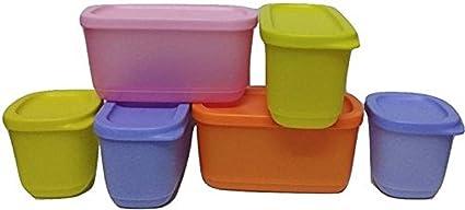 Tupperware Cubix Set of 6  Multicolor    1220 ml Plastic Multi Purpose Storage Container  Pack of 6, Multicolor  Kitchen Storage   Containers