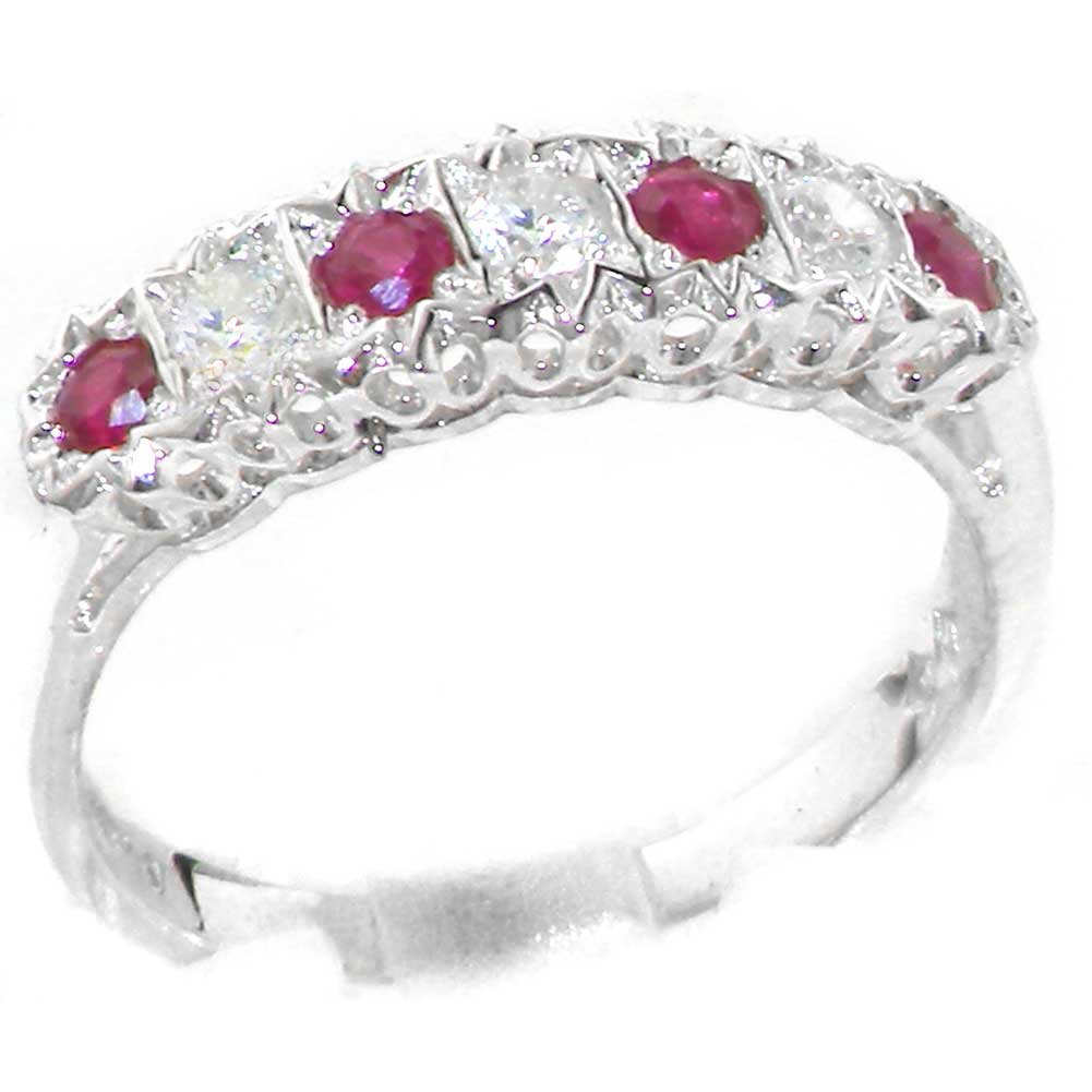 925 Sterling Silver Natural Ruby and Diamond Womens Eternity Ring (0.18 cttw, H-I Color, I2-I3 Clarity)
