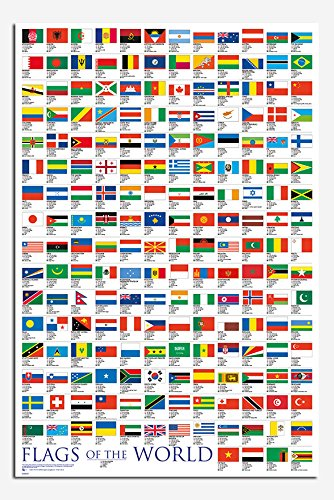 flags world poster satin matt