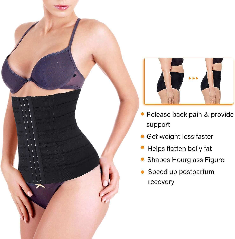 STITCH AND FIT Woman Waist Trainer Corset Tummy Control Shapewear Slimming Girdle Cincher Body Shaper Black