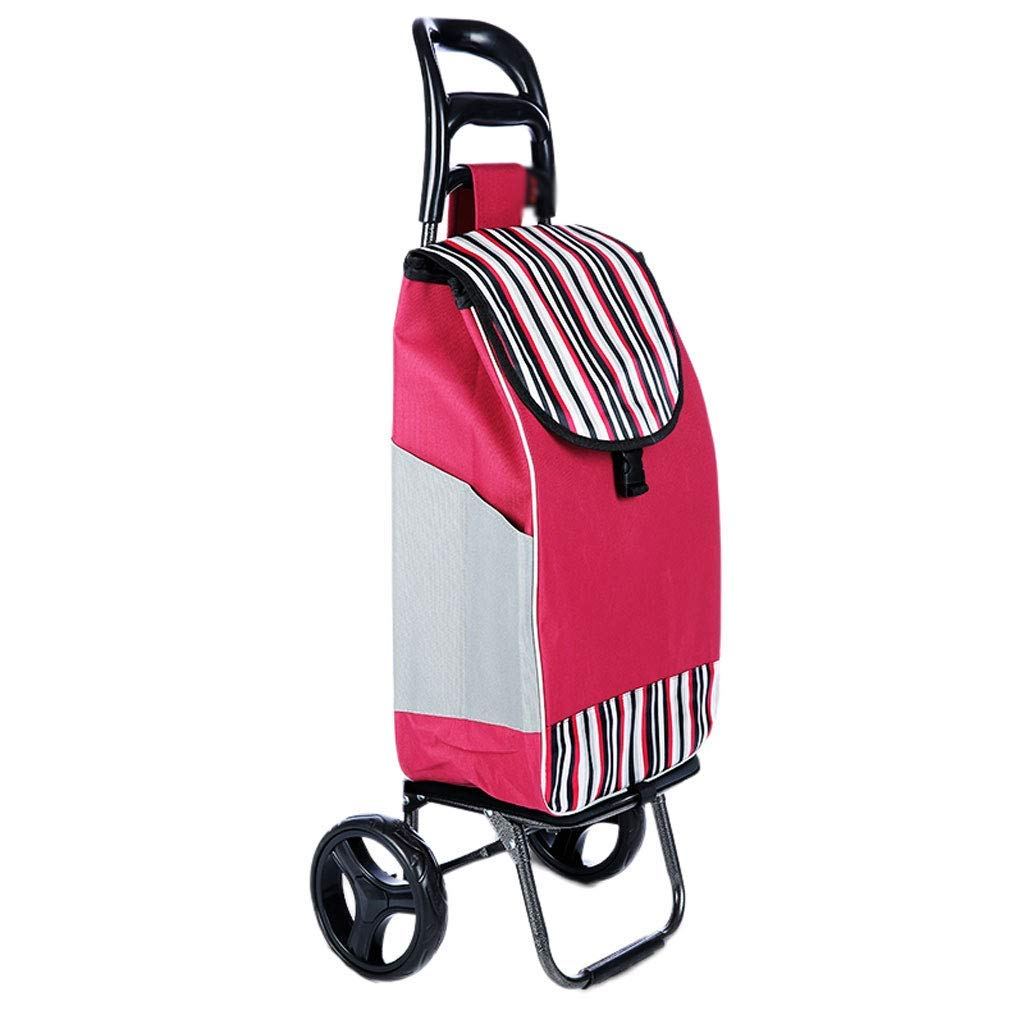 Vvlo Stylish Portable Folding Trolley Trolley Trolley wear-Resistant Silent Rubber Wheel (Color : B)