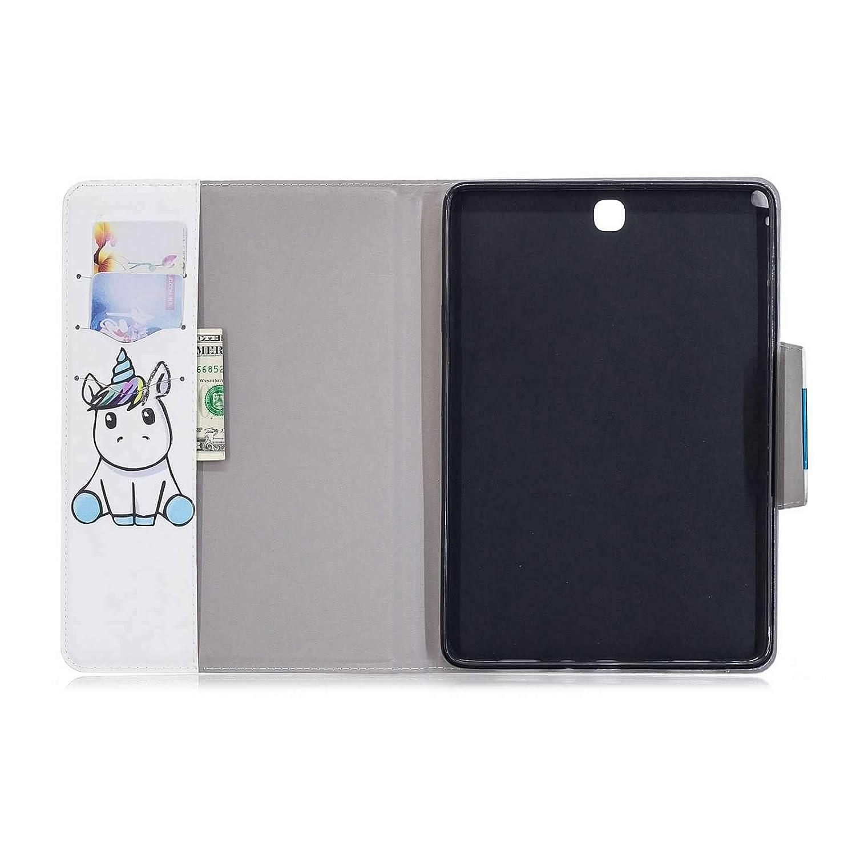 Coque Samsung Galaxy Tab A 9.7 Licorne PU Cuir Fermoir Magn/étique Supporter Flip Portefeuille Housse pour Samsung Galaxy Tab A 9.7 SM-T550 T555 avec Un Cadeau
