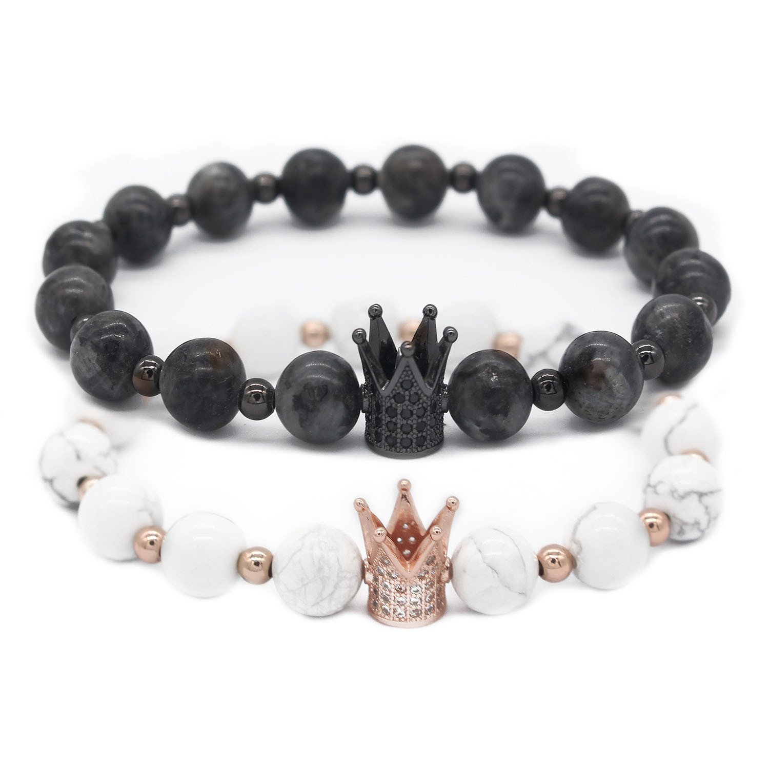Gemfeel 8mm Black Labradorite & White Howlite CZ Her King/His Queen 8mm Beads Couple Bracelet, 7.6''+7.2''