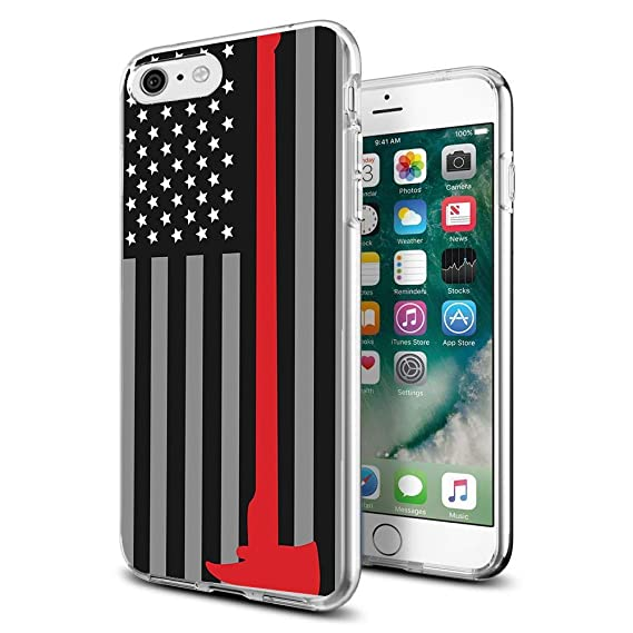 promo code a7360 a3e16 Cocomong Cool Firefighter for iPhone 6 Case Thin Red Line Clear Design  Protective Phone Cover Gifts for Men Boys Girls Women Shockproof Bumper ...