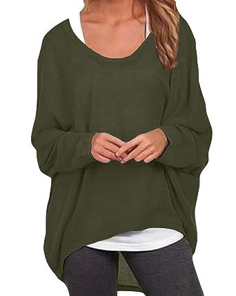 4b24e65dabfff ZANZEA Women Loose Solid Irregular Long Sleeve Baggy Jumper Casual Tops  Blouse T-Shirt  Amazon.co.uk  Clothing