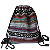 Pattern 1 Drawstring Backpack - TOOGOO(R)Women Vintage Backpack Gypsy Bohemian Chic Folk Tribal Woven String Backpack Female Drawstring Rucksack£¨Pattern 1£