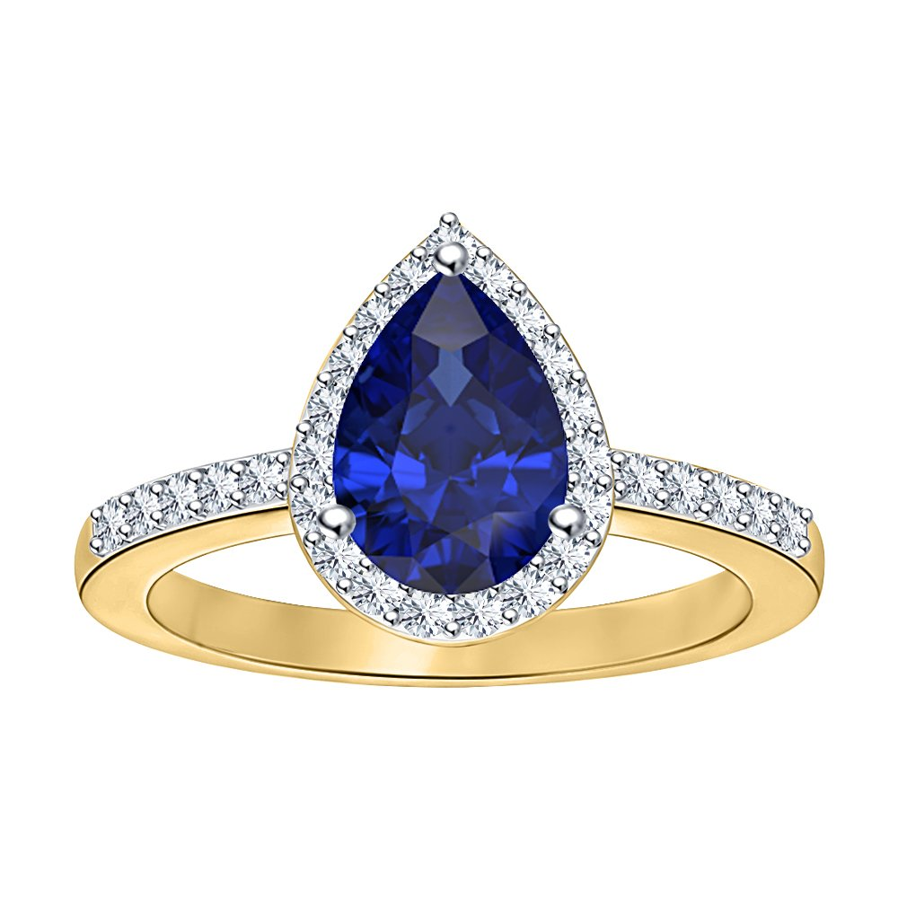 tusakha Beautiful 1.80ctw Pear Shaped Blue Sapphire /& White CZ 14k Yellow Gold Over .925 Sterling Silver Halo Style Wedding Engagement Ring For Women