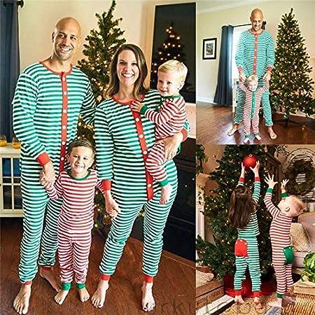 Pijama Navidad Familiar del algodón Que la Fiesta de Rayas Ropa de ...