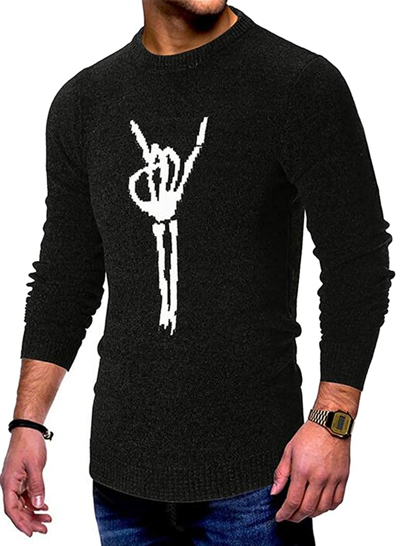 Jofemuho Mens Knitted Fall /& Winter Regular Fit Long Sleeve Round Neck Pullover Sweater Jumper