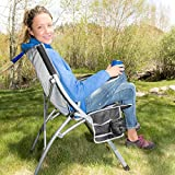 Ozark Trail Adjustable Heavy Duty Folding Lumbar Camping Mesh Chair with Carry Bag, Multicolor - Black