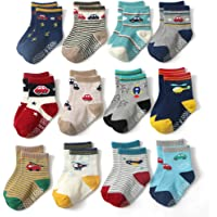 CHUNG Little Boys Cotton Crew Socks Blue Stripe Star Print Pack of 5/10