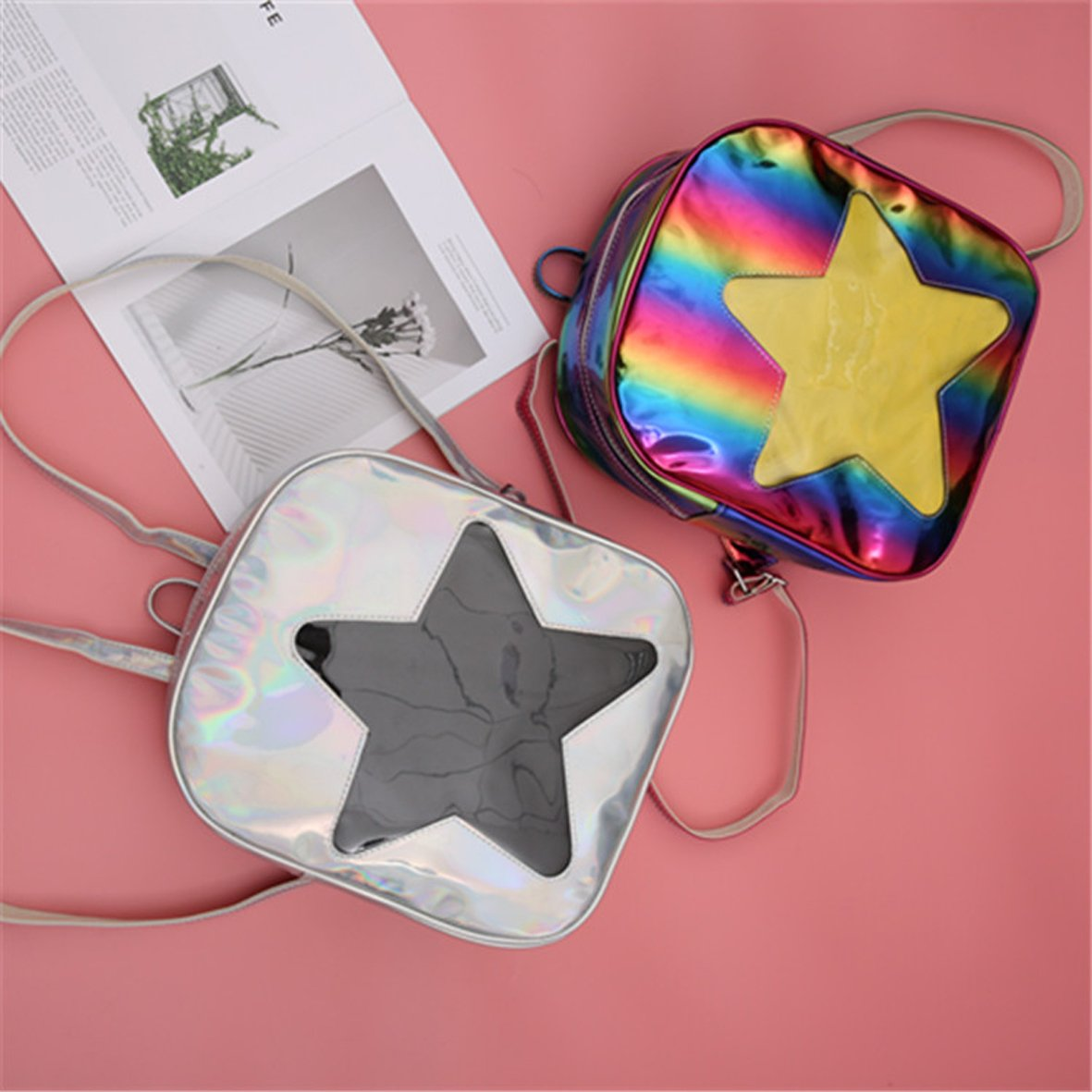 Girls Kawaii Bling Transparent Love Star School Bag Backpack (Star-Silver) by XSCOMSPORT (Image #4)