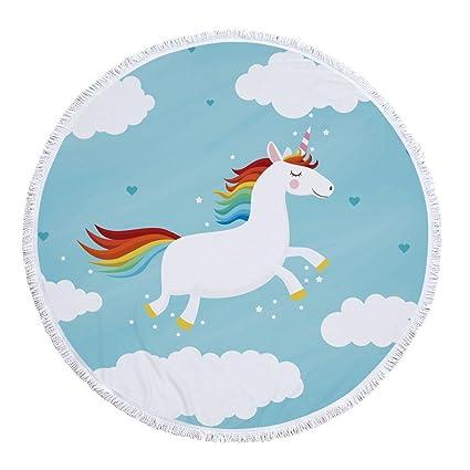 Tapiz Toalla Manta, Playa, Yoga, Esterilla De Yoga,Plantas Tropicales, Toalla De Dibujos Animados De Rainbow Unicorn Fringe Tapestry Para Niños, Redondo, ...