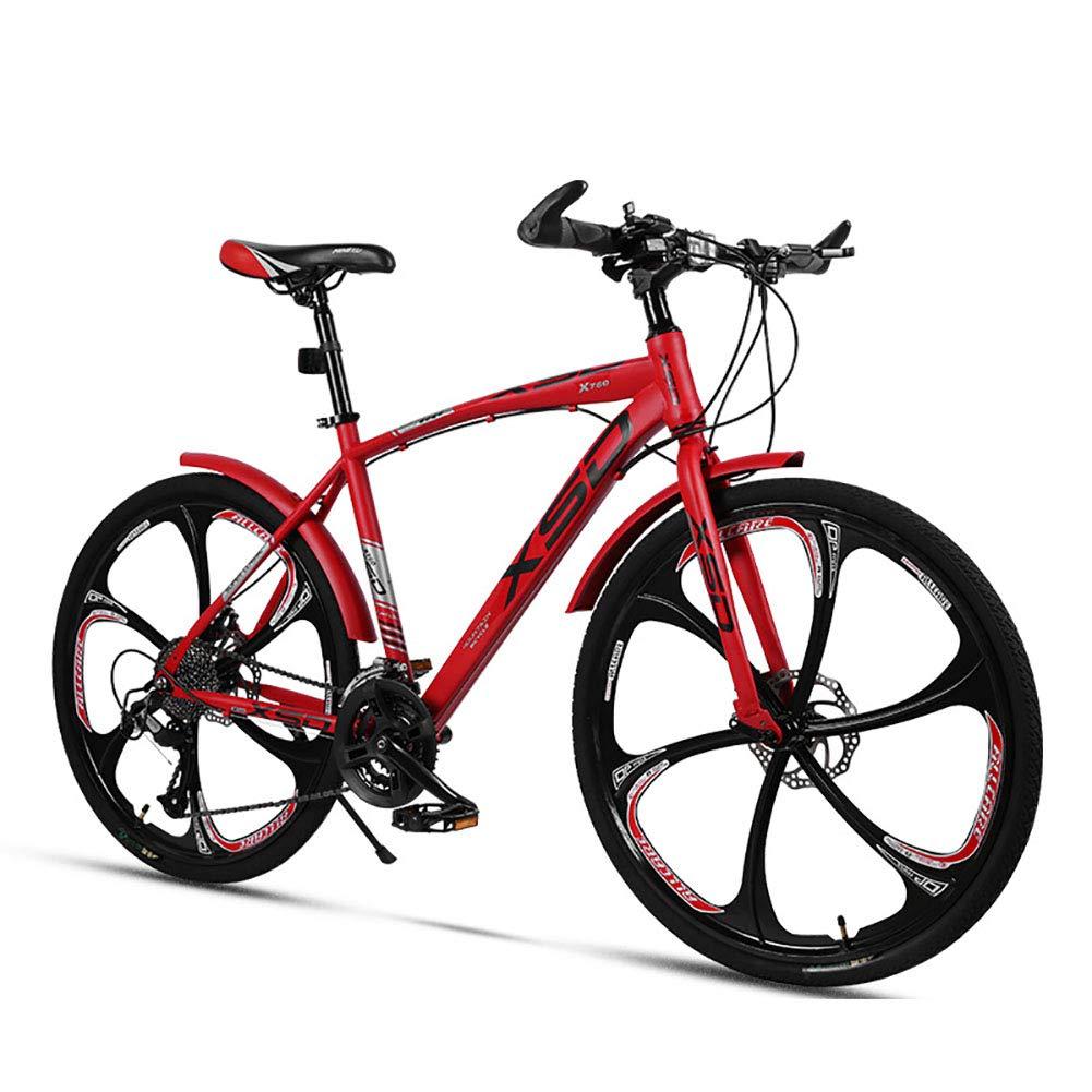 rojo Bicicleta de montaña Unisex 26 Pulgadas Rueda Integral 21 24 27 30 Velocidad Acero de Alto Carbono Freno de Disco Doble Estudiante Niño Ciudad del Viajero Cabellera Dura Bicicleta,azul,30Speed 21Speed