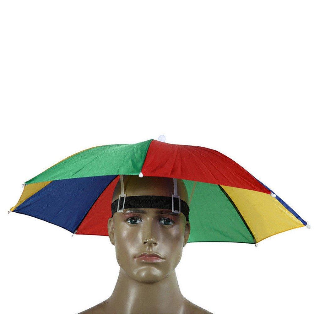 0cecc9c507b1b Lonshell Umbrella Hat Visor Fishing Cap Outdoor Sun Rain Protection  Adustable Headwear Portable Mini Umbrella Novelty Fancy Dress Accessory  (Multicolor)  ...