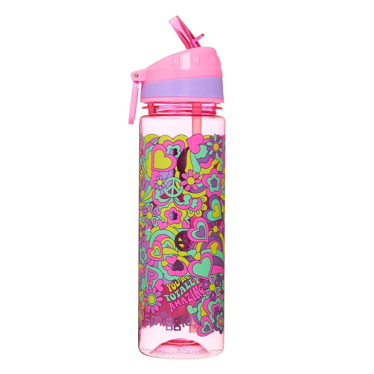 Smiggle Good Vibes Kids con beccuccio apri-chiudi e capacit/à di 650 ml Stampa di unicorni per ragazzi e ragazze bottiglia per acqua