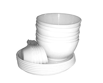 King International Stainless Steel White Microwable Soup Set of 18 Pieces (6 Bowl, 6 Spoon, 6 Plate)