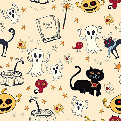 (DaShan 4x4FT Illustration Photography Backdrop Cartoon Wildcat Ghost Magic Potion Pumpkins Stars Halloween Background Birthday Party Decor Kids Baby Girls Portrait Studio Props Polyester)