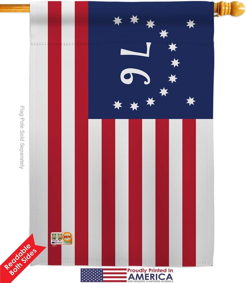 Amazon Com Americana Home Garden Hs140703 Bo 03 Bennington Americana Historic Decorative Vertical House Flag Set 28 X 40 W Flagpole Multi Color Garden Outdoor
