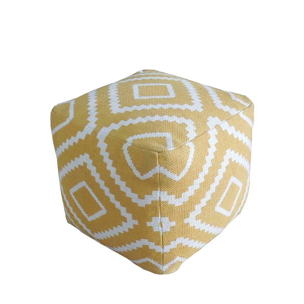 Pharao24 Sitzpouf in Gelb Weiß Gemustert Stoff