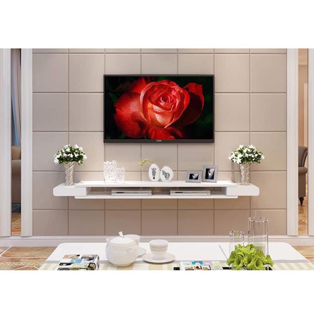 Wall-Mounted TV Cabinet Wall Shelf Floating Shelf Multimedia Shelf TV Accessories Storage Shelf Photo Toy Shelf TV Background Wall Decoration Shelf (Color : White) by AFEO-Floating shelf