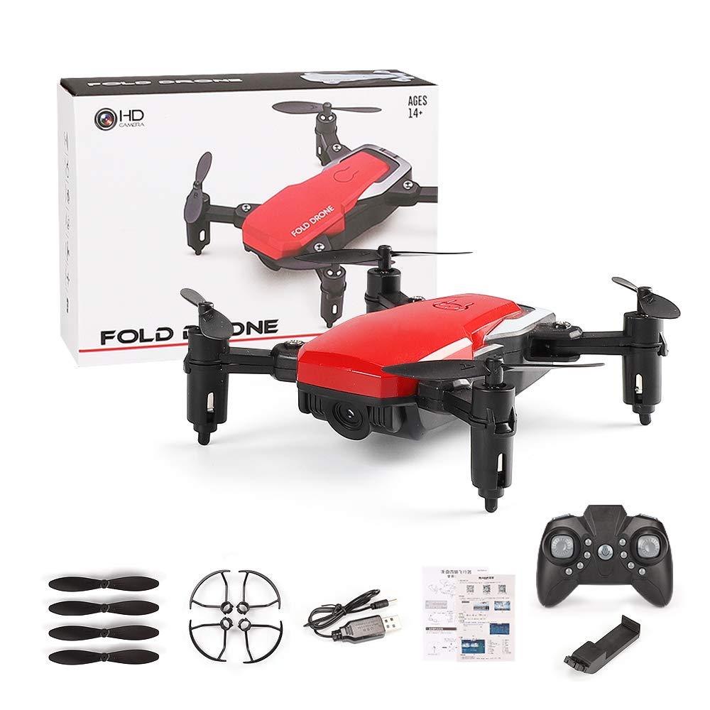 BAZ Drone Aereo Pieghevole a Quattro Assi Aeromobili Telecomando Giocattolo Modello di Aeromobili,Rosso,11  3.5cm