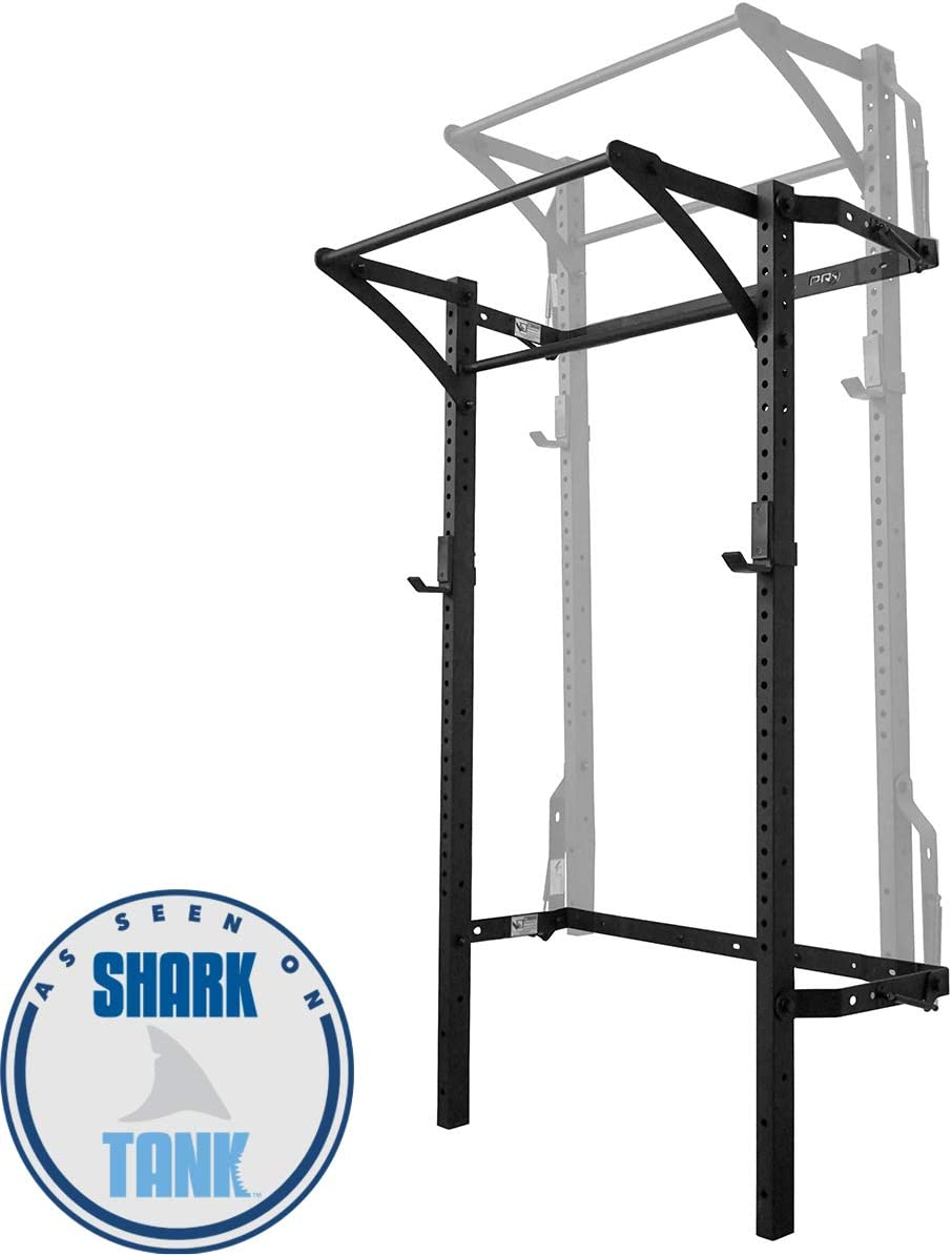 Murphy Rack Fold Up Squat Rack, Wall Mounted Folding Power Rack, 90 Inch Uprights, Space Saving Power Rack, Home Gym Equipment, Pull Up Bar, Heavy Duty J-Cups, Fitness Equipment