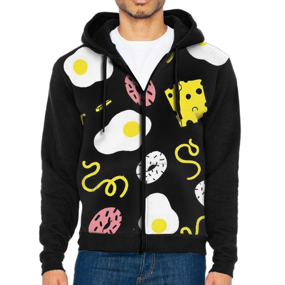 SAGRFDH Mens Full-Zip Hooded Poached Eggs Fleece Sweatshirt