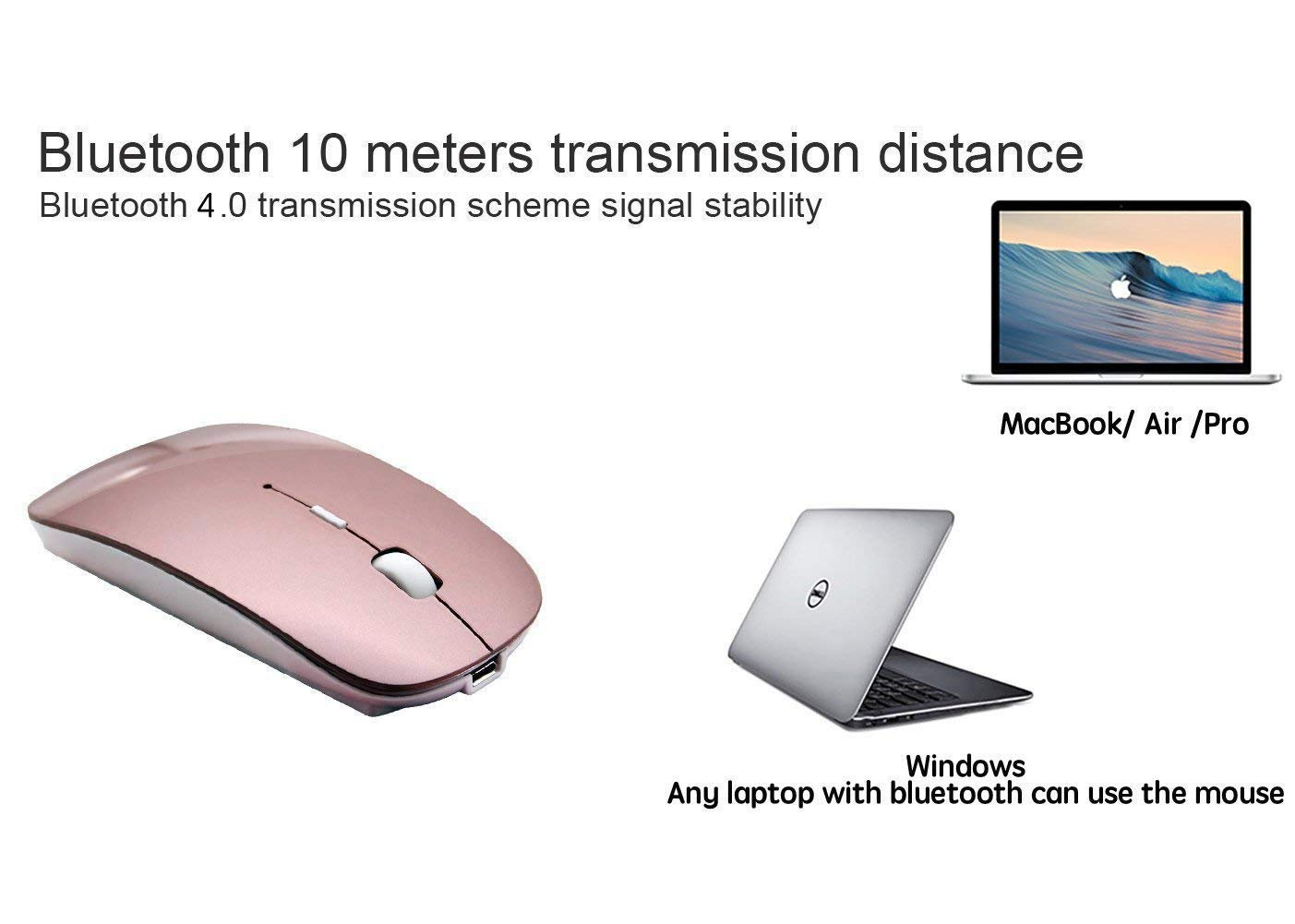 Bluetooth Mouse Wireless Mouse Mobile Mouse Optical Mouse Charging Mouse Applies for Notebook, PC, Laptop, Computer,Windows/Android Tablet, iMac Macbook Air/Pro(Rose Gold) by Bianco (Image #5)